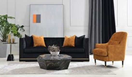 living room set with sofa and accent chair